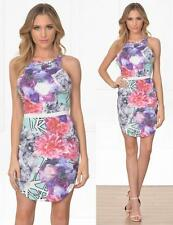 Pink Purple White Mint Floral Geometric Sleeveless Scoop Bodycon Mini Dress NWT