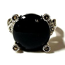(SIZE 7) Opulent Round Black ONYX STONE RING Marcasite .925 STERLING SILVER