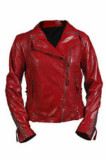 Hampton New Ladies Vintage Gothic Real Red Leather Short Retro Biker Jacket