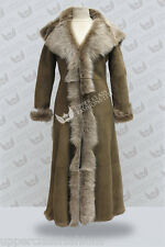 Beaver Full Length Hooded Ladies Suede Toscana Sheepskin Leather Trench Coat