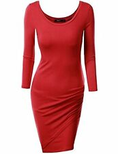 CWDSD0111-RED-L Doublju Sexy Fitted Boat Neck Bodycon Dress (Plus SZ available)