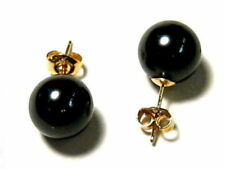 12mm 14mm DARK BLACK Sea Shell Pearl Stud Earrings 14K Solid Yellow Gold Posts