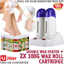 Double Roll on Wax Heater Depilatory Hair Removal Hot Waxing Kit & 2x Cartridge