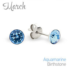 925 Sterling Silver Baby Girl Safety Push Back Stud Earrings March Birthstone