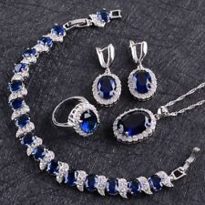 Blue Sapphire White Topaz Women 925 Sterling Silver Earrings/Pendant/Necklace/Ri