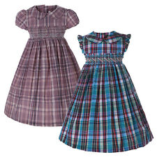 Baby Girls Gingham School Dress Toddler Kids Summer Cotton Check Party Dresses