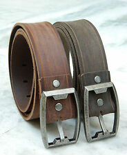 Genuine Leather Belt rustic distressed wide strap jeans full grain handmade