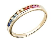 R165 Genuine 9K Gold Natural Fancy Rainbow Sapphire Band Ring made to size