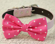 Hot Pink Polka Dot Handmade Dog Bow Tie Collar Birthday Wedding Pet Accessory