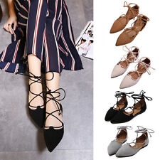 Women Gladiator Lace Up Ankle Strappy Pointed Toe Flats Sandals Oxfords Shoes