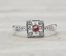925 Sterling Silver Ring with Natural Round Cut Red Garnet Gemstone Handmade
