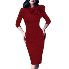 Vfemage Vintage Pinup Retro Rockabilly 3/4 Sleeve Bow Party Work Dress
