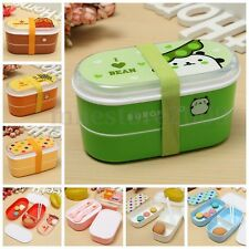 Student 2 Layer Cartoon Lunch Box Food Container Portable Bento Box Chopsticks