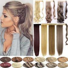 """Lady Blonde Long Ponytail Clip in Hair Extensions 24"""" 26"""" Wavy Human Made Piece"""