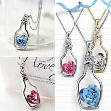 GIRLS SILVER HEART CHARM IN A VIAL BOTTLE,5 COL PENDANT NECKLACE,FREE POST IN OZ