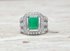 925 Sterling Silver Ring with Green Onyx Natural Gemstone Emerald Cut Handmade