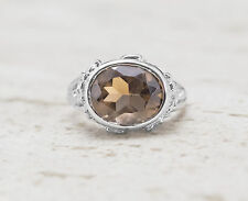 925 Sterling Silver Oval Shape Ring with Smoky Topaz Natural Gemstone Handmade.