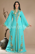 Beautiful Dubai Caftan Dress Abaya Jilbab Islamic Kheleeji Sequins Arabian 3811
