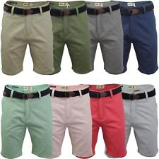 Mens Chino Shorts by Tokyo Laundry Casual Belt Cotton Knee Length Straight