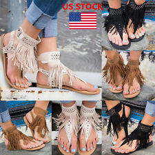 US Women Ladies Summer Tassel Buckle Open Toe Ankle Strap Sandals Flats Shoes
