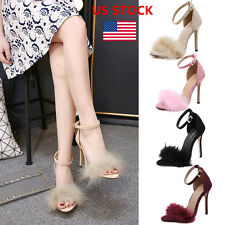 US Women Ladies High Stiletto Heels Fluffy Feathers Ankle Strappy Shoes Sandals