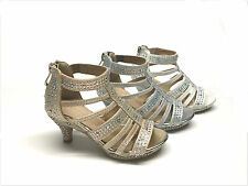 Band New Kids Girls Party Dress Rhinestone Heel Sandals Size 9 - 4