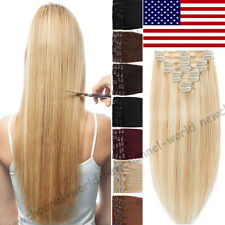 Clip in Remy Hair Extensions 100% Real Remy Human Hair THICK 70-120g Blonde B539