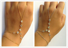 Gold Silver Chain Crystal Beads Charm jewelry bangle Hand Slave bracelet Harness