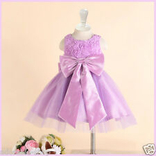 Kids Purple Christmas Wedding Party Pageant Flower Girls Dresses AGE 2 4 6 8 10Y