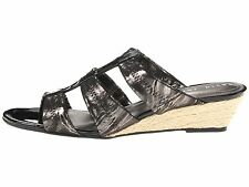 David Tate Oley Women Wedge Sandals Slip-on Shoes Black Patent Pewter Size 9 New