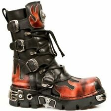 NEW ROCK M 591-S1 NEWROCK BLACK RED FLAME METALLIC LEATHER BOOT BIKER GOTH BOOTS