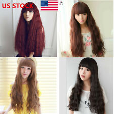 US STOCK Women Ladies Lolita Fluffy Long Curly Corn Wavy Party Cosplay Wigs Hair