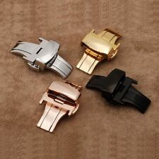 Stainless Steel Butterfly Push Button Deployment Wrist Watch Band Buckle Clasp