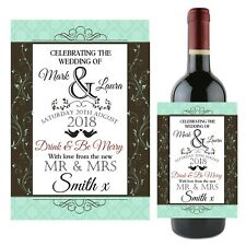 Personalised Wedding Day Wine Champagne Bottle Label N116 Table Gifts