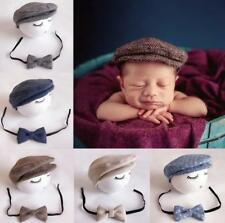 Baby Newborn Peaked Beanie Cap Hat + Bow Tie Photo Photography Prop Outfit Set