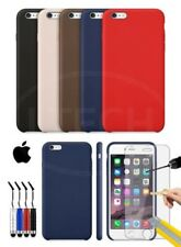 Apple iPhone 6S - Leather Hard Back Case Cover, Mini Stylus & Tempered GLASS