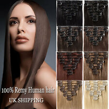Double Thick clip in remy human hair extensions full head 8pcs Weft Blonde Brown