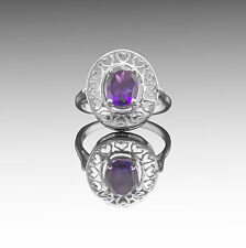 925 Sterling Silver Ring with Oval Cut Natural Amethyst Gemstone Handcrafted