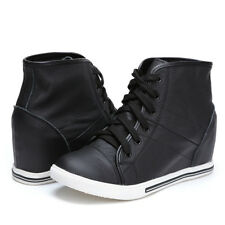 Womens Leather Lace Up Wedge Hidden Heels Casual Fashion Sneakers Shoes Pumps