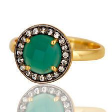 18k Gold Plated Green Onyx CZ Gemstone Brass Stackable Ring Fashion Jewelry
