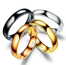 Trendy 4mm Stainless Steel Polished Ring Women Men Wedding Engagement Size 5-13