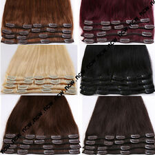 THICK 90-120g Full Head Clip in Remy Real Human Hair Extensions 8PCS Blonde B726