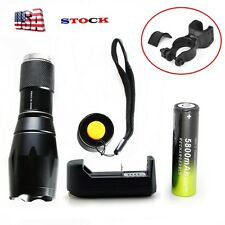 Tactical 9000LM  LED Flashlight Torch CREE XML T6 Zoomable +18650+Charger+ClipI