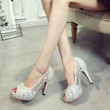 HOT Women High Heels Lace Peep Toes Wedding Shoes Party Sandals Sexy Stilettos