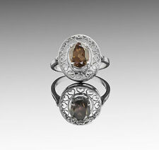 925 Sterling Silver Ring with Oval Smoky Topaz Natural Gemstone Handmade eBay.