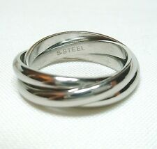 High Polished Stainless Steel Russian Wedding Three-Band Ring Size 6 7 8 9 10-13