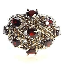 SIZE 6,7,8,9: GARNET STONES RING Chunky Wide Band Marcasite .925 STERLING SILVER