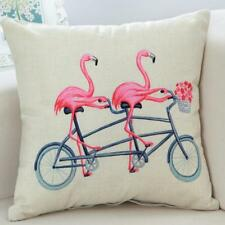 Cotton Linen Flamingo Pillow Case Throw Cushion Cover Home Decoration