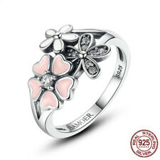 Fashion Jewelry 925 Silver Daisy Ring White Topaz Wedding Engagement Ring Sz5-10
