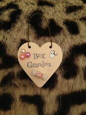 Shabby chic small ivory wooden heart sign/gift tag